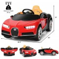 12V Licensed Bugatti Chiron Kids Ride on Car with Storage Box and MP3