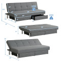 Convertible Futon Sofa Bed Adjustable Couch Sleeper with Two Drawers Grey