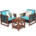 3 Pieces Patio Wicker Furniture Sofa Set with Wooden Frame and Cushion