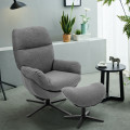 Modern Swivel Rocking Chair and Ottoman Set with Aluminum Alloy Base