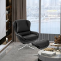Swivel Top Grain Leather Lounge Armchair Rocking Chair with Ottoman