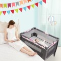 4-in-1 Convertible Portable Baby Playard Newborn Napper with Music and Toys