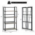 4-Tier Folding Bookshelf No-Assembly Industrial Bookcase Display Shelves