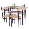 5 pcs Wood Metal Dining Table Set with 4 Chairs