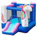 Inflatable Slide Bouncer with Basketball Hoop for Kids Without Blower