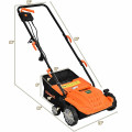 """12Amp Corded Scarifier 13"""" Electric Lawn Dethatcher with 40L Collection Bag"""