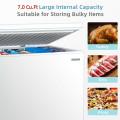 Chest Freezer 7.0 Cu.ft Upright Single Door Refrigerator with 4 Baskets