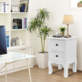 Wood Accent End Nightstand with 2 Storage Drawers