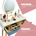 Touch Screen Vanity Makeup Table Stool Set