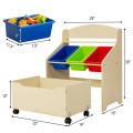 Kids Wooden Toy Storage Unit Organizer with Rolling Toy Box and Plastic Bins