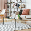 """42.0"""" x 19.7"""" Clear Tempered Glass Coffee Table with Rounded Edges"""