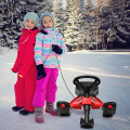 Snow Sled with Steering Wheel and Double Brakes Pull Rope Slider