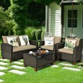 4 Pcs Patio Rattan Furniture Set with Cushions