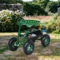 Extendable Handle Garden Cart Rolling Wagon Scooter