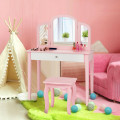 Kids Princess Make Up Dressing Table with Tri-folding Mirror & Chair