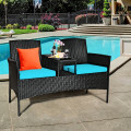 Patio Rattan Conversation Set with  Seat and Sofa