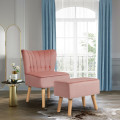 Leisure Chair and Ottoman Thick Padded Tufted Sofa Set