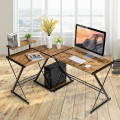 L-Shaped Desk Reversible Corner Computer Desk with Movable Shelf and CPU Stand