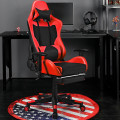 PU Leather Gaming Chair with USB Massage Lumbar Pillow and Footrest