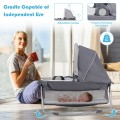 4-in-1 Convertible Portable Baby Play yard with Toys and Music Player