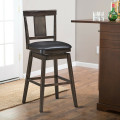 29 inch Swivel Upholstered Counter Height Bar Stool with Rubber Wood Legs