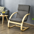Modern Fabric Upholstered Bentwood Lounge Chair