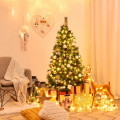 5/6/7 ft Pre-lit Artificial Hinged Christmas Tree with LED Lights