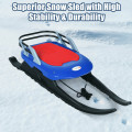 Folding Kids Metal Snow Sled Frost-Resistant with Pull Rope Snow Slider and Leather Seat