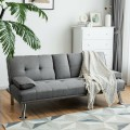 Convertible Folding Futon Sofa Bed Fabric with 2 Cup Holders
