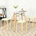 Set of 4 Bentwood Round Stool Stackable Dining Chair with Padded Seat