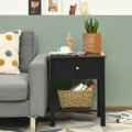 Nightstand End Table with Drawer and Shelf