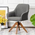 Fabric Swivel Accent Chair with Beech Wood Legs