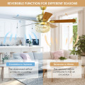 """52"""" Retro Ceiling Fan Light with Reversible Blades Remote Control"""