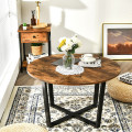 Round Industrial Style Cocktail Side Coffee Table With Metal Frame