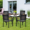 Set of 4 Outdoor Patio PE Rattan Dining Chairs with Powder-coated Steel Frame