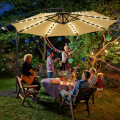 10 Ft Solar LED Offset Umbrella with 40 Lights and Cross Base for Patio