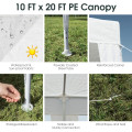 10 x 20 Feet Waterproof Canopy Tent with Tent Peg and Wind Rope