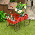 Wooden Wagon Plant Bed With Wheel for Garden Yard