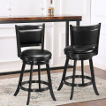 2 Pieces 24 Inches Swivel Counter Stool Dining Chair Upholstered Seat