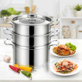 3-Tier Steamer Pot 304 Stainless Steel Steaming Cookware with Glass Lid