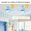 42 Inch Kid Ceiling Fan with LED Light and Color Temperature Remote Control