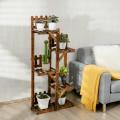 5-Tier Flower Rack Wood Plant Stand 6 Pots Display Shelf