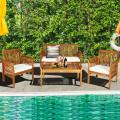 4 Pieces Outdoor Acacia Wood Sofa Furniture Set