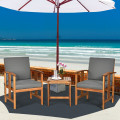 3PC Solid Wood Outdoor Patio Sofa Furniture Set