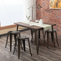 Set of 4 Industrial Metal Counter Stool Dining Chairs with Removable Backrest