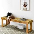 """52"""" Acacia Wood Dining Bench with Slatted Seat"""