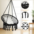 Hanging Macrame Hammock Chair with Handwoven Cotton Backrest