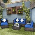 6 Pieces Patio Rattan Furniture Set with Sectional Cushion