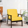 Solid Rubber Wood Fabric Accent Armchair