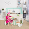 2 in 1 Kids Wooden Pretend Cooking Playset Toy